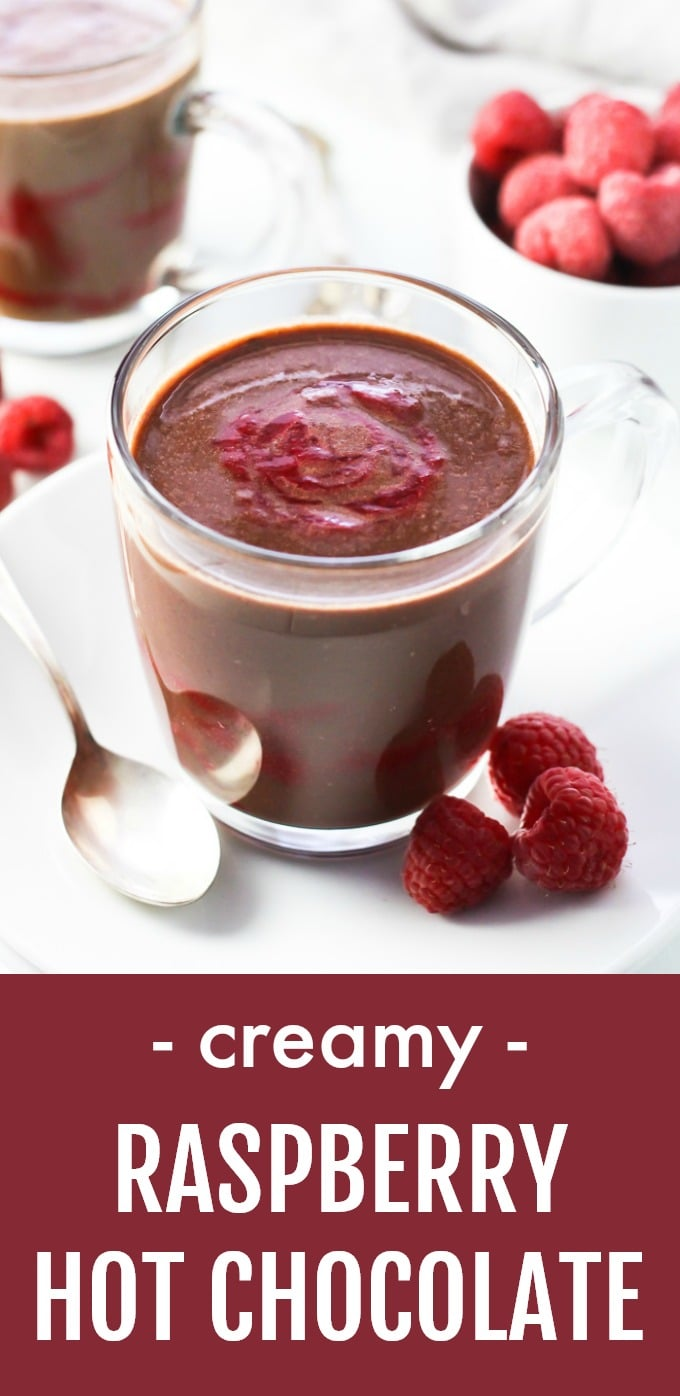 This raspberry hot chocolate is so rich, creamy, and comforting that you won't believe it's healthy. This easy recipe is made with cocoa powder, dark chocolate, raspberries, and maple syrup. And you can make this winter drink vegan by using non-dairy milk. The ingredient quantities are for one serving so you can just multiply them to make as much as you need. Refined sugar free. #raspberries #chocolate #cleaneating #recipe #healthy #realfood #vegan #vegetarian #dairyfree #lowsugar #glutenfree