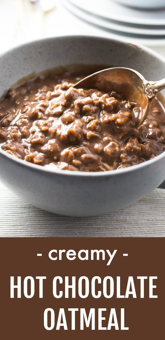 This rich and creamy hot chocolate oatmeal is a dream come true for all chocoholics. It's super easy and quick to make, will satisfy your chocolate craving and fill you up at the same time. You can make it with regular whole milk or make it vegan with non-dairy milk. Made using only real food ingredients. #chocolate #oatmeal #vegan #vegetarian #cleaneating #healthy #recipe #realfood