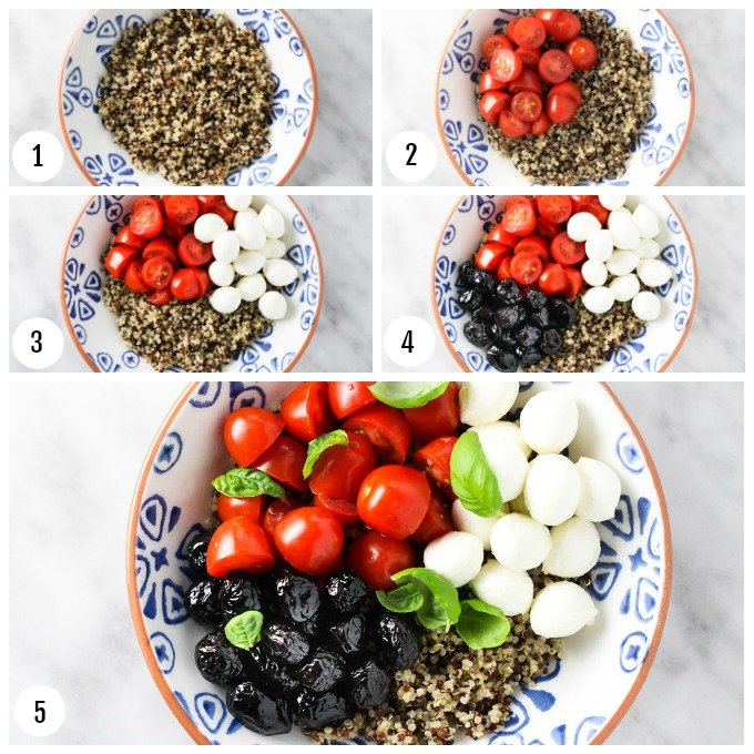 Step-by-step photos on how to assemble the Caprese quinoa bowl.