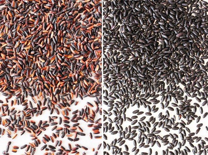 Black rice kernels.