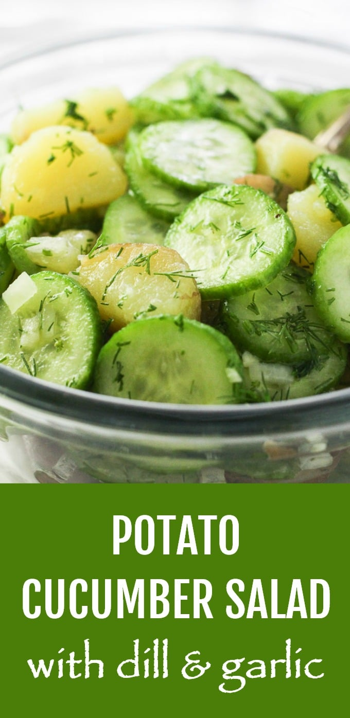 This healthy Potato Cucumber Salad is made with dill, onion, garlic, and olive oil. It's very easy to make and perfect for a weeknight dinner and a party. It's a great alternative to the traditional potato salad because it's dairy-free and made with no mayo. Light and refreshing. #potato #cucumber #salad #dairyfree #nomayo #healthy #recipe #vegan #cleaneating #plantbased
