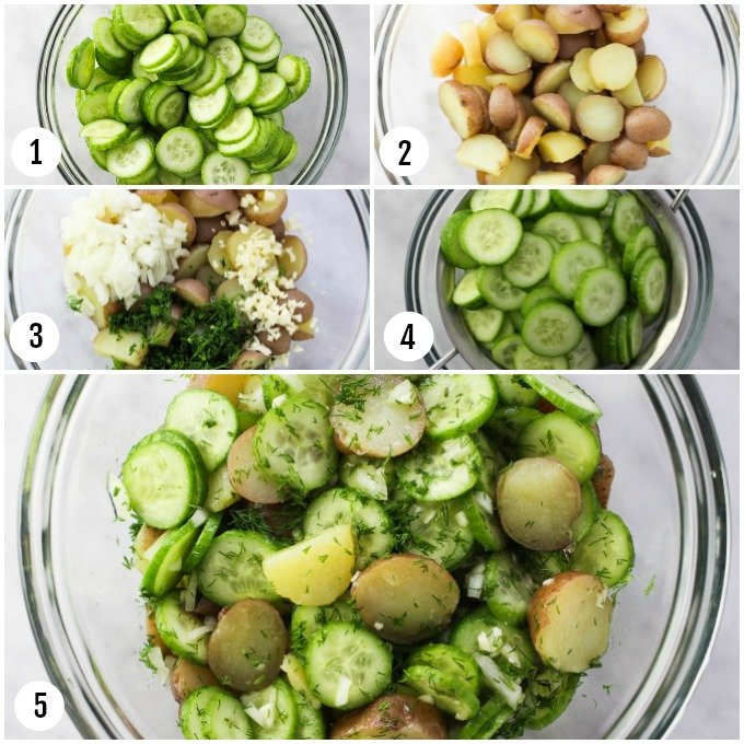 Step-by-step photos showing how to make potato cucumber salad.