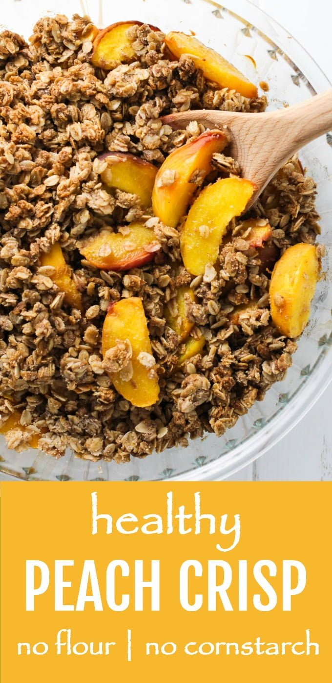 This healthy peach crisp is delicious and very easy to make. This dessert contains no flour and no cornstarch and is naturally sweetened with maple syrup. You can also make it gluten-free if needed. #peaches #recipe #peachcrisp #dessert #plantbased #vegan #glutenfree #baking