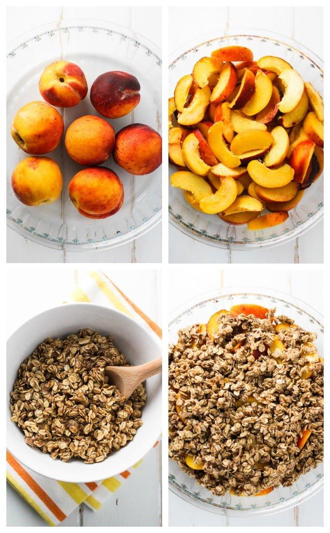 Healthy peach crisp process shots.