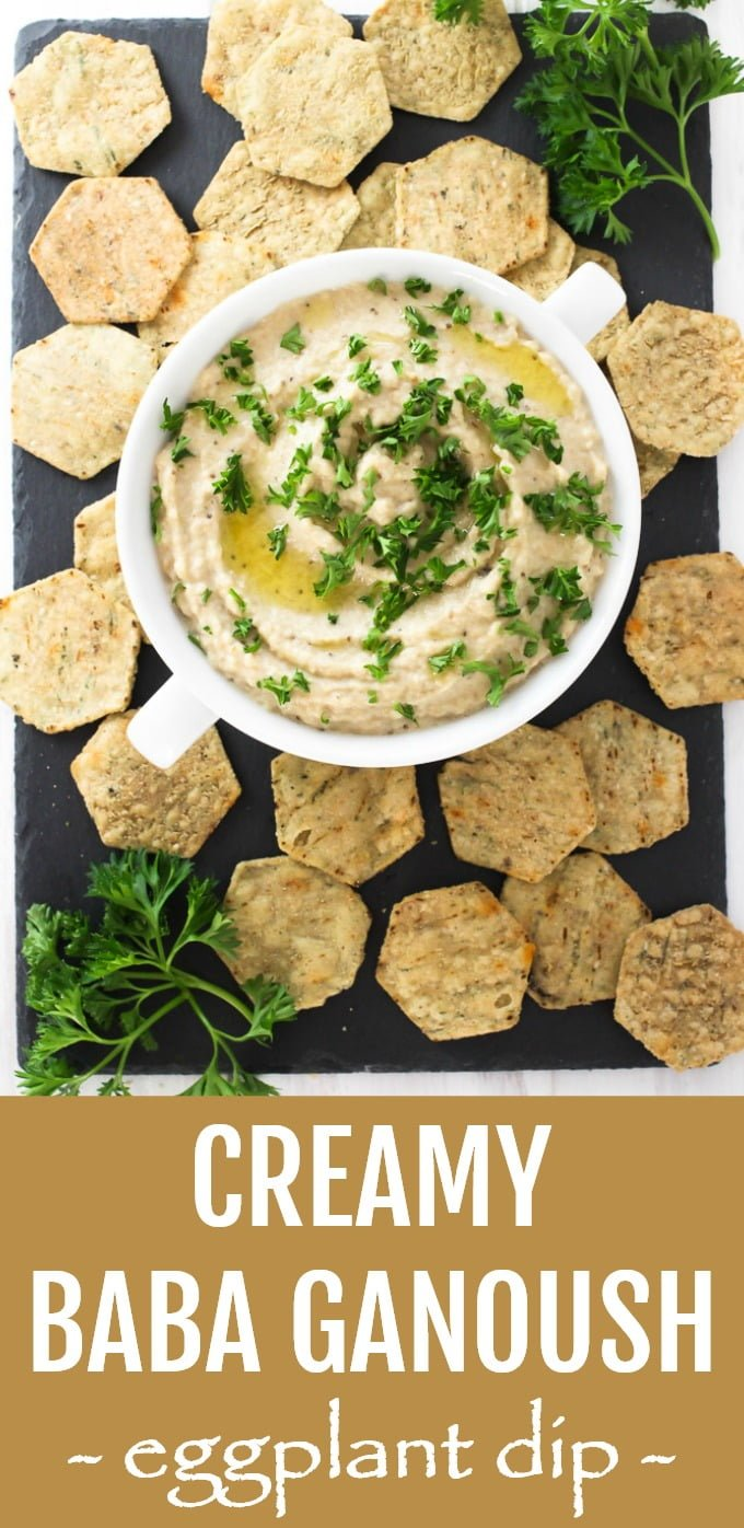 This homemade creamy baba ganoush has a mild smokey flavor with a hint of tahini, garlic, and lemon. This recipe is very easy to make following the provided step-by-step instructions. Makes for a perfect appetizer and a healthy snack. Can be made in advance. Gluten-free. #cleaneating #mealprep #dip #babaganoush #eggplant #realfood #glutenfree #recipe