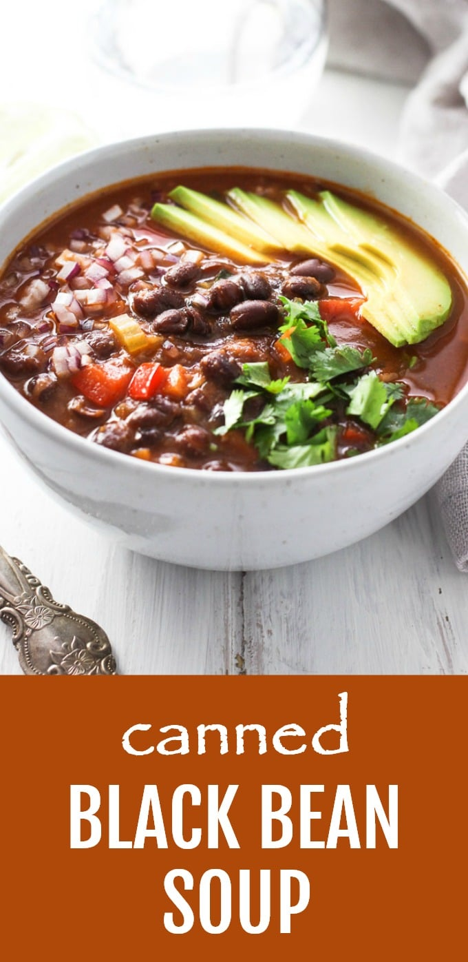 This hearty canned black bean soup is delicious, filling, and comforting. This recipe is very easy and quick to make using the ingredients most people have in their fridge and pantry. In addition, you can garnish this soup with your favorite toppings so that the whole family can enjoy it. Perfect for a healthy meal-prep. Vegan and gluten-free. #blackbeans #recipe #mealprep #soup #healthy #cleaneating #vegan #glutenfree