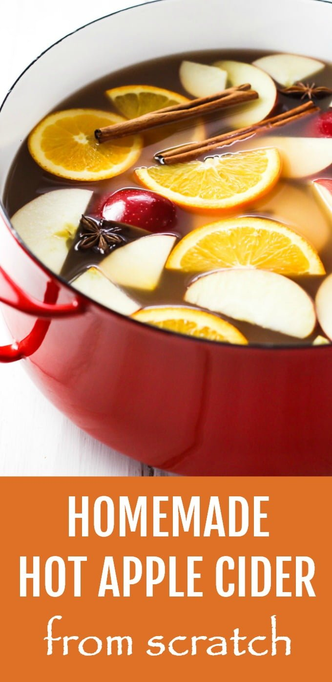 Learn how to make homemade hot apple cider from scratch. This spiced hot drink makes a perfect addition to your Thanksgiving and Christmas parties and is sure to impress your guests. It's also a fun DIY project for a cold weather weekend. The recipe is very easy to follow and includes step-by-step pictures. Cooked on the stove and you can also make it in a slow cooker. Try it once and this mulled drink will be your favorite fall and winter treat. #hotapplecider #recipe #drink #healthy