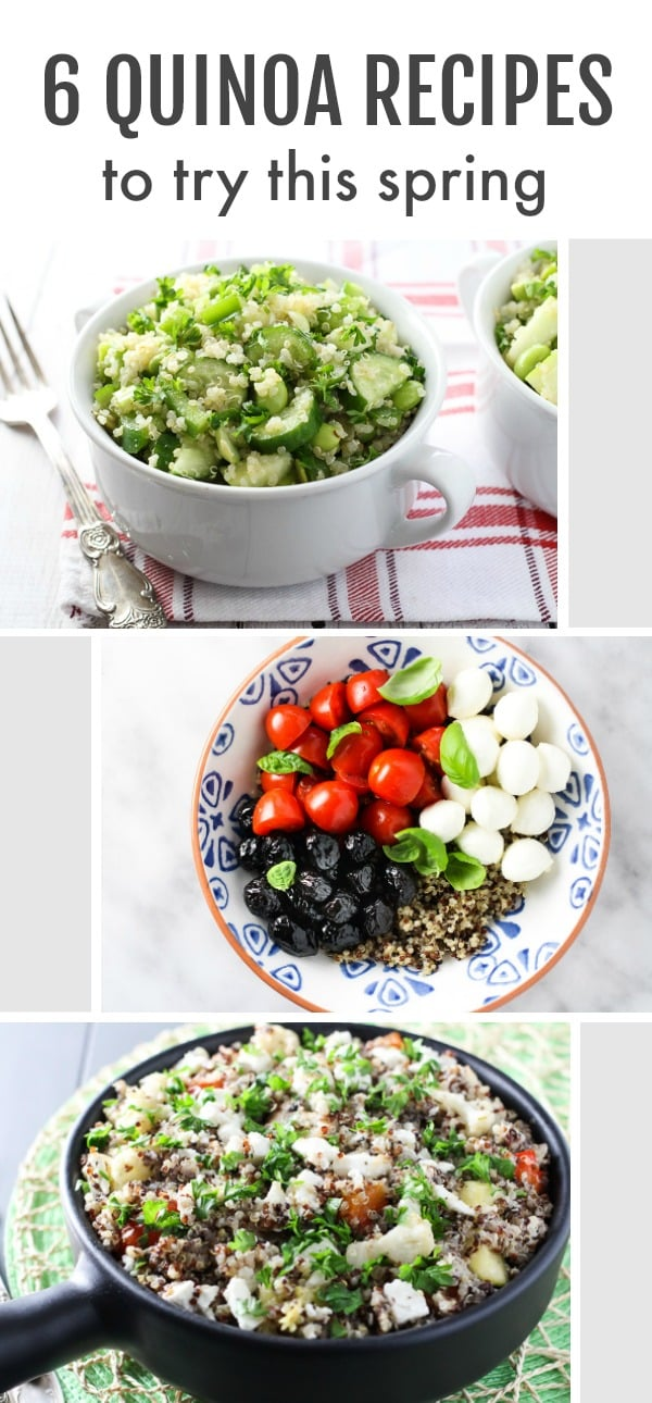 A collage of 3 images of quinoa dishes. On the top is written: 6 quinoa recipes to try this spring.