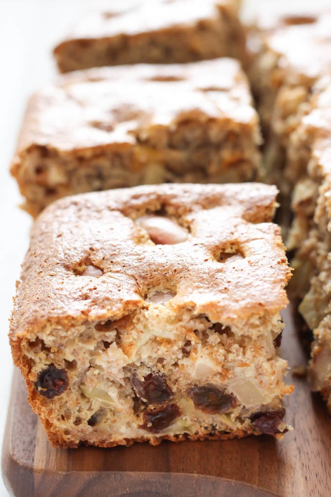 A slice of the healthy apple cake.