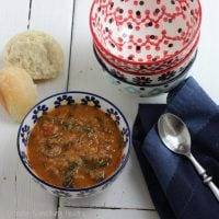 Lentil, Spicy Sausage and Spinach Soup