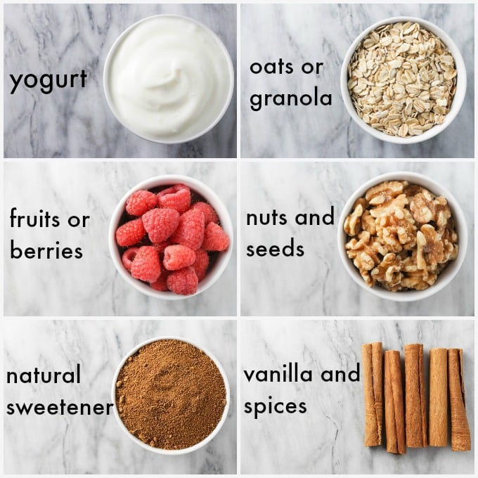 Collage with ingredients for a healthy yogurt parfait.