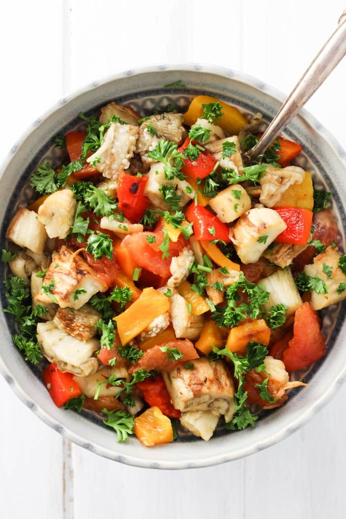Armenian grilled vegetable salad in a bowl.