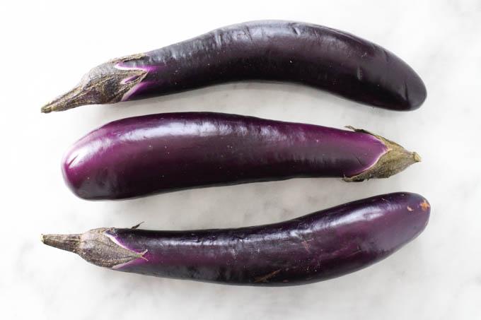 Three Chinese eggplants.