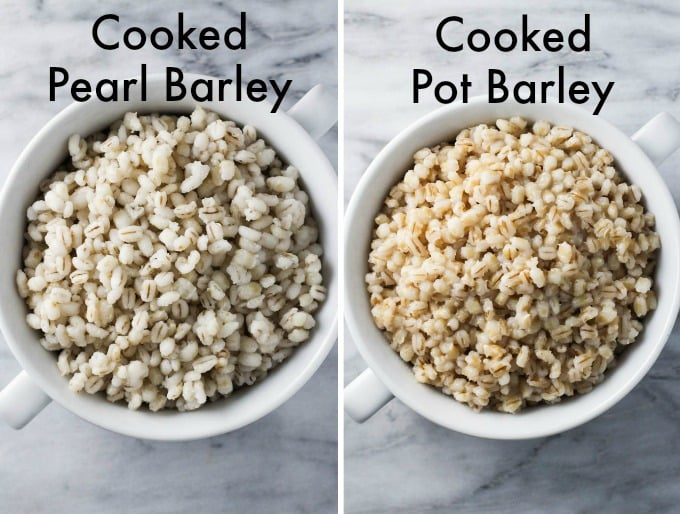 Cooked pearl barley on the left and cooked pot barley on the right.
