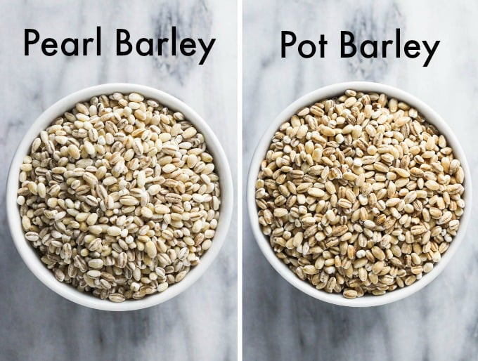 Pearl barley grains on the left and pot barley grains on the left.