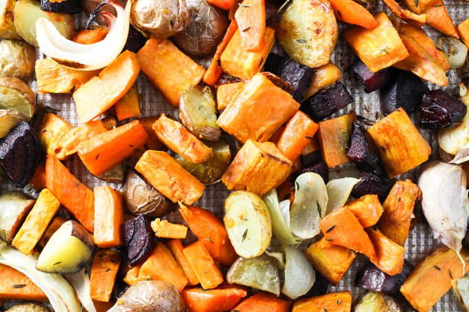 Roasted root vegetables.