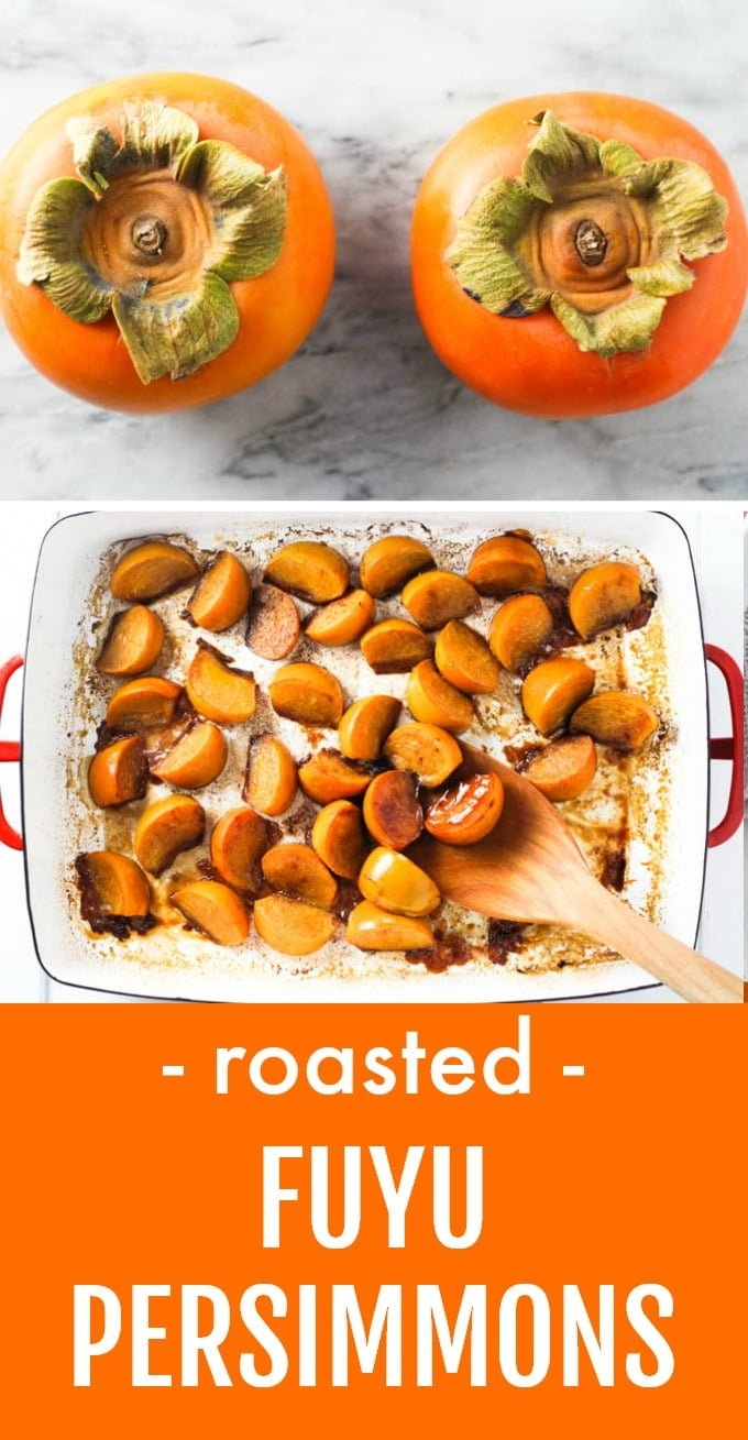 These spiced baked persimmons make a perfect fruit dessert. They taste great on their own, and you can also serve them with ice cream or add as a topping to yogurt or oatmeal. This healthy recipe is very easy to make and perfect for those times when you are looking for a clean eating treat. Naturally vegan and gluten-free. #persimmons #fruitbake #recipe #vegan #glutenfree