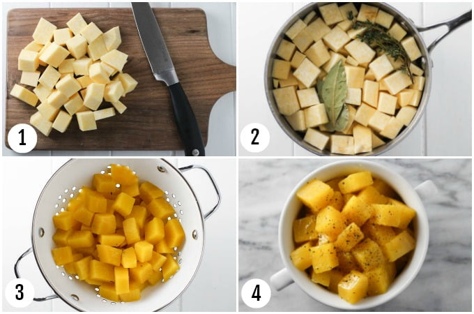 Step by step photo collage of boiled rutabaga.