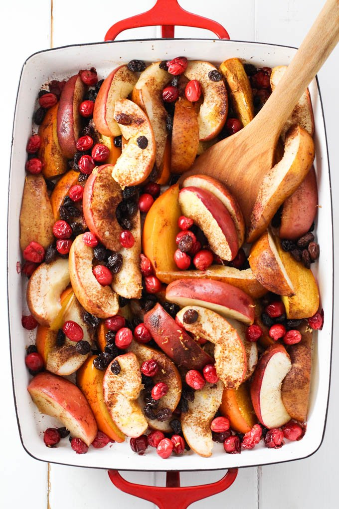 Baked fruit in a baking dish.