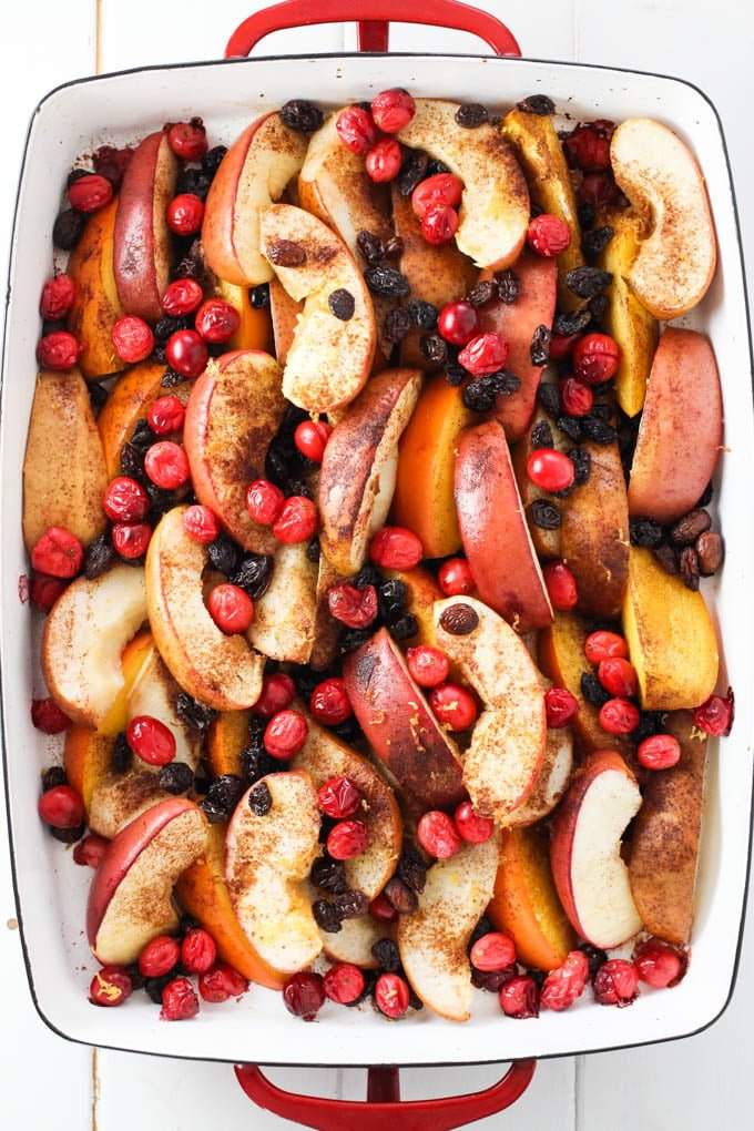 Roasted Fruit in a baking dish.