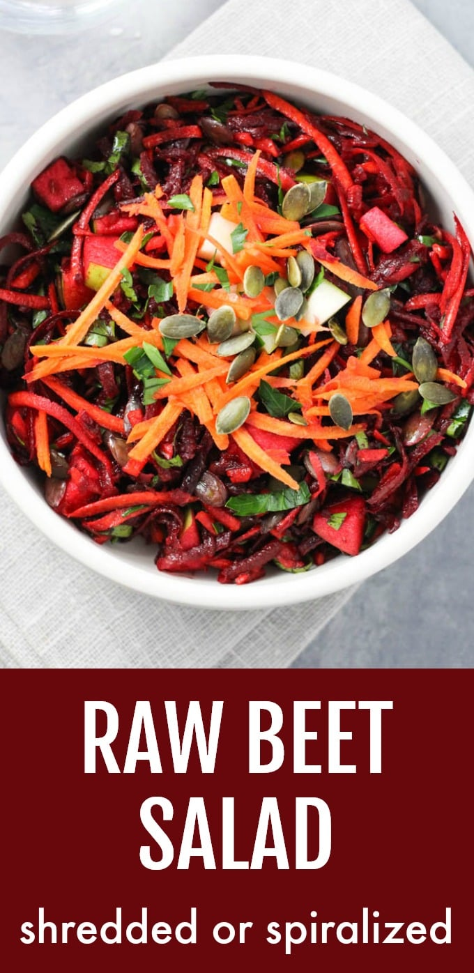This raw beet salad is crunchy, refreshing, and very filling. It's made with shredded or spiralized fresh beets with a very simple dressing. It's perfect as a side salad or cold side dish. This healthy recipe is very easy to make and is ideal for meal-prep. #beets #salad #recipe #cleaneating #vegan
