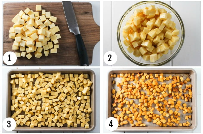 Step by Step photo collage of roasted rutabaga.