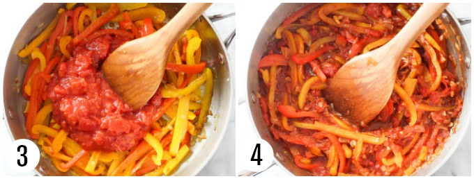Step 3 and 4 of making peperonata.