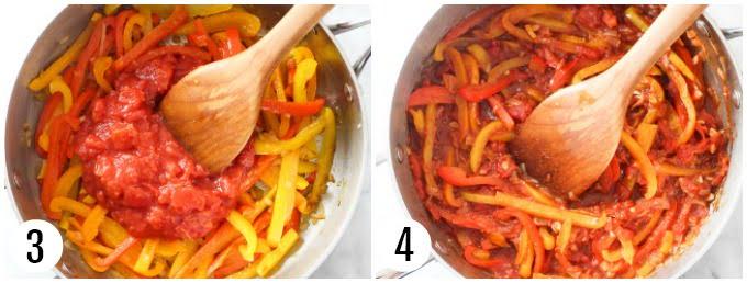 Step 3 and 4 of making peperonata.