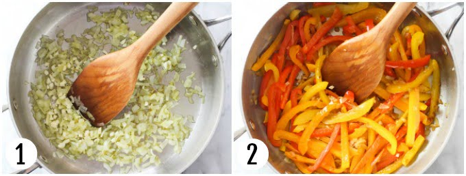 Step 1 and 2 of making stewed bell peppers.