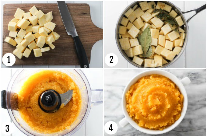 Step by step photo collage of mashed rutabaga.