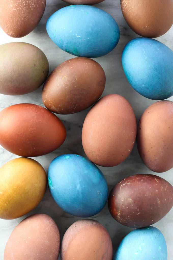 Easter eggs laying on a surface.
