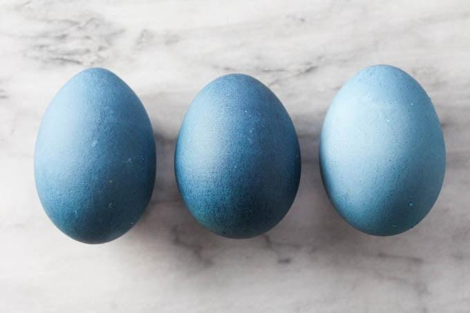 Three blue Easter eggs.