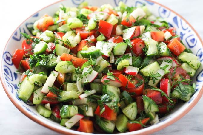 Chopped vegetable salad in a bowl.