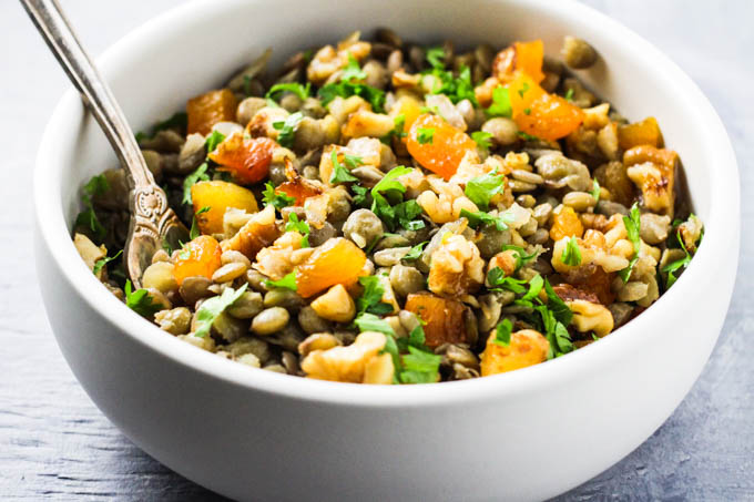 Side view of the Armenian lentil dish in a bowl.