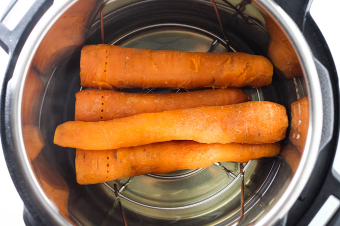 Cooked carrots inside the Instant Pot.