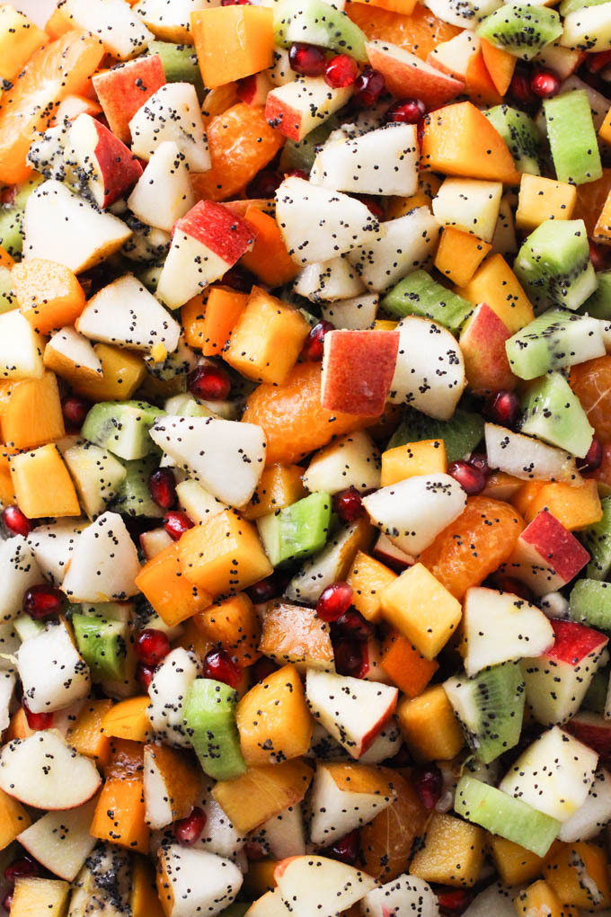 Close up of the fall and winter fruit salad.