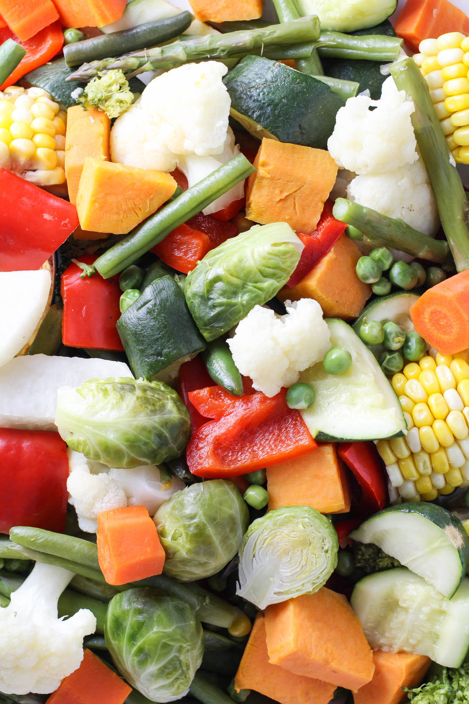 Mixed steamed vegetables.
