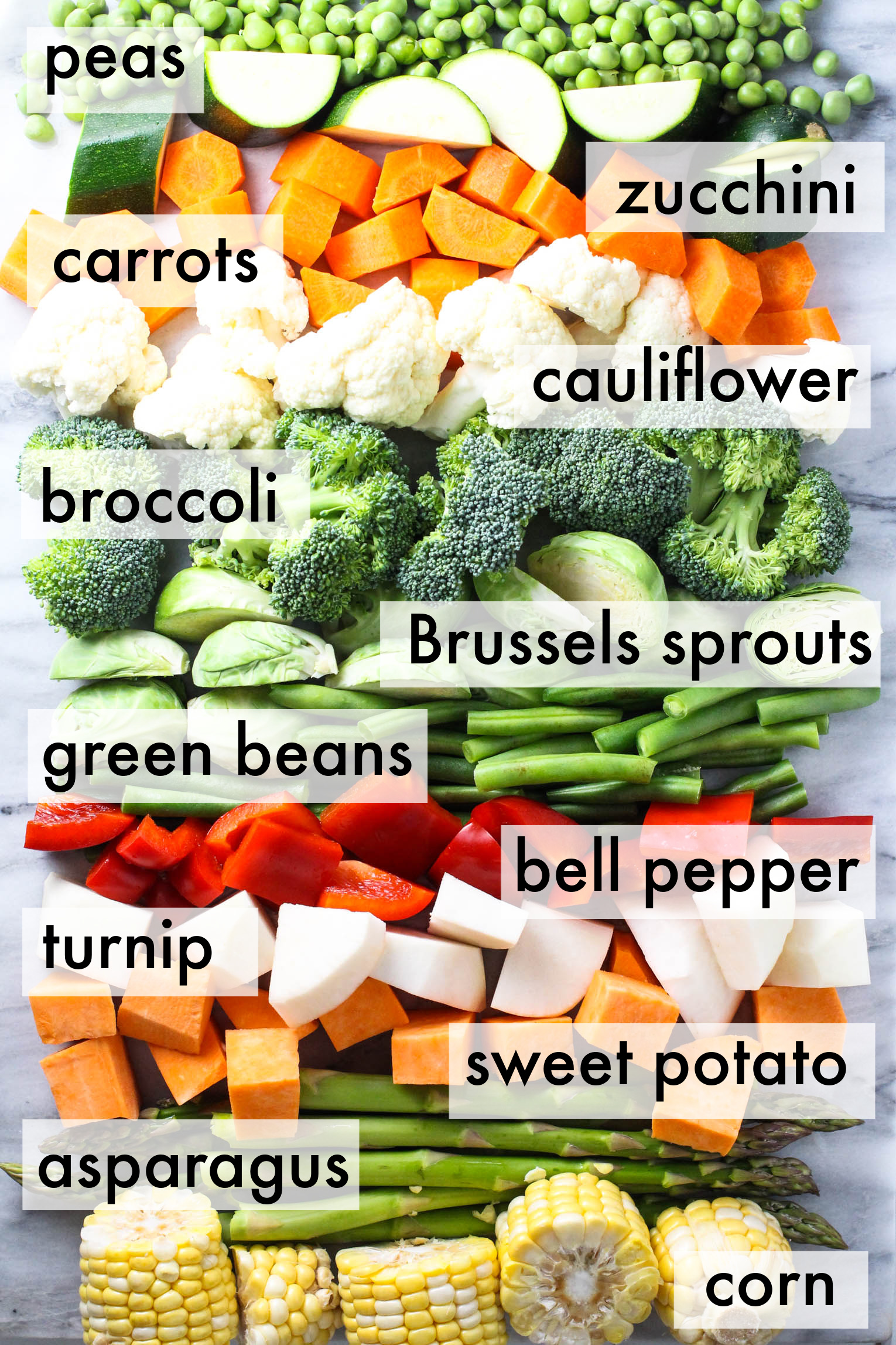 Fresh sliced vegetables arranged in layers over marble background. The vegetables are labeled as follows: peas, zucchini, carrots, cauliflower, broccoli, Brussels sprouts, green beans, bell pepper, turnip, sweet potato, asparagus, corn.