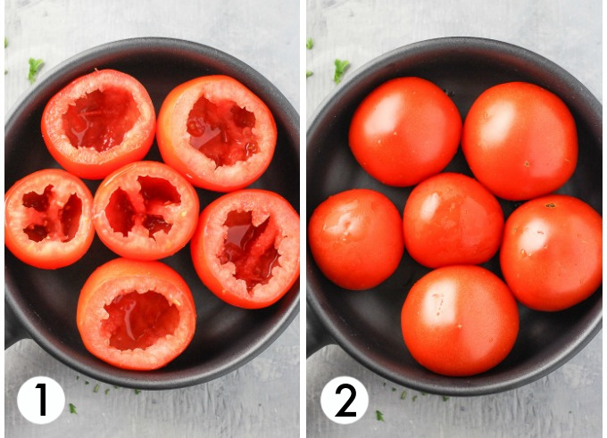 Collage of tomatoes in a black dish. On the left are tomatoes with tops cut off and the flesh scooped out. On the right are tomatoes placed down side up.